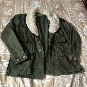 Camo Army Jacket w/ Fur Collar